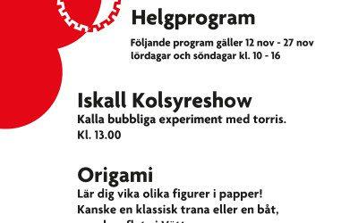 Helgprogram 12 – 27 november !