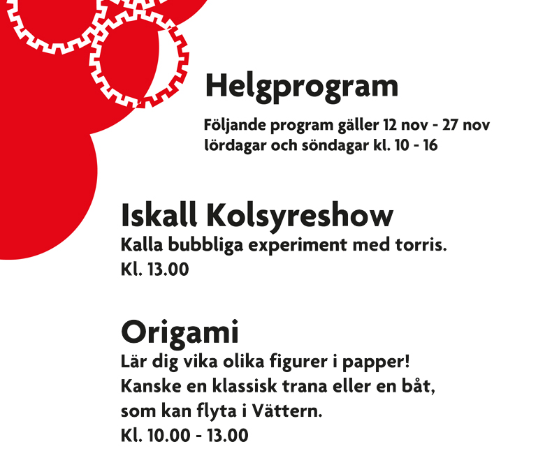 Helgprogram 12 – 27 november !