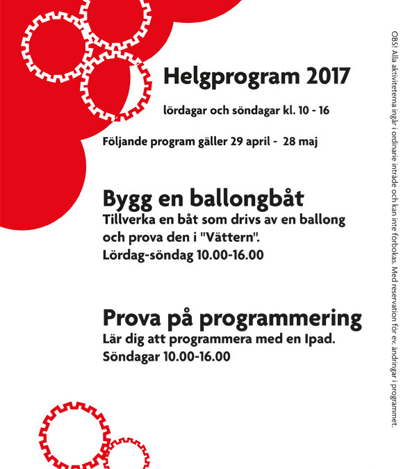 Helgprogram 28 april – 29 maj